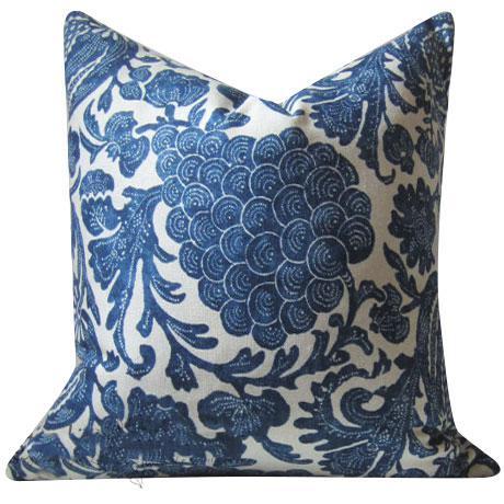 Indigo Batik Floral Decorative Pillow Cover For Sale - Image 4 of 6
