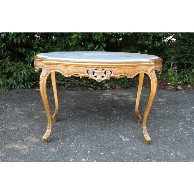 Late 20th Century 20th Century Louis XVI Center or Coffee Table With Marble Top For Sale - Image 5 of 6