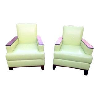 David Edward Leather Club Chairs - A Pair