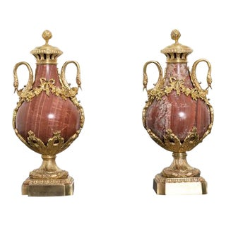 19th Century Red Marble and Gilded Bronze Ormolu Mounts Pear Shaped Urns - a Pair For Sale