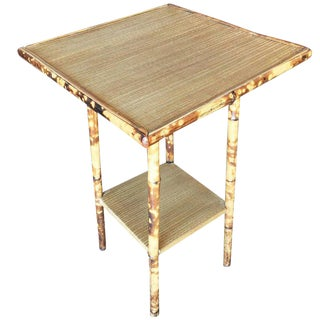 Restored Tiger Bamboo Pedestal Side Table With Straight Legs For Sale