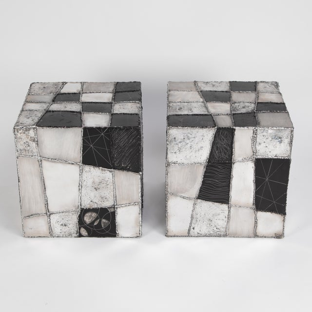 "Rare Pair of Paul Evans ""Argente"" Side Tables, Circa 1960s For Sale In New York - Image 6 of 13"
