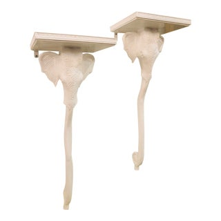 Vintage Gampel & Stoll White Lacquered Elephant Wall Sconces - A Pair For Sale
