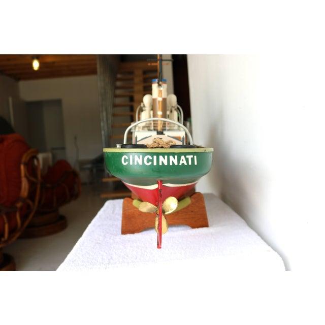 "American 1950s Artisan Carved Wood Boat Pa-Lan ""Cincinnati"" For Sale - Image 3 of 10"