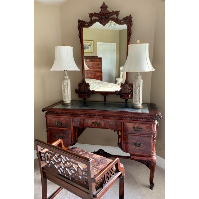 Early 20th Century Williamsport Furniture Company Chinese Chippendale Vanity with Mirror and Bench For Sale In Savannah - Image 6 of 13