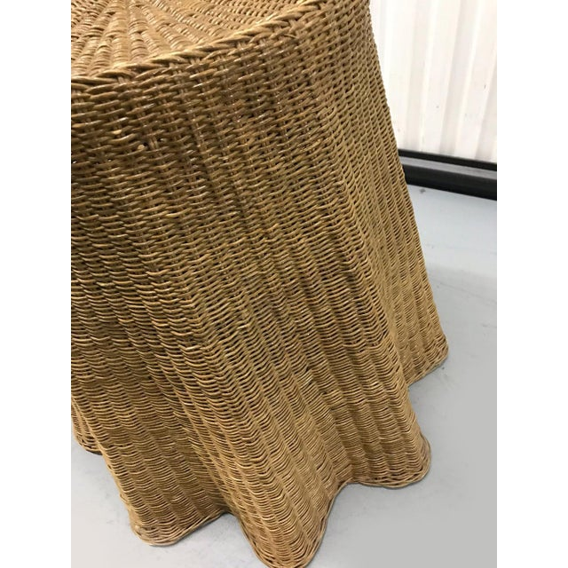 """Vintage Wicker Trompe l'Oeil """"Draped"""" Table For Sale - Image 9 of 12"""