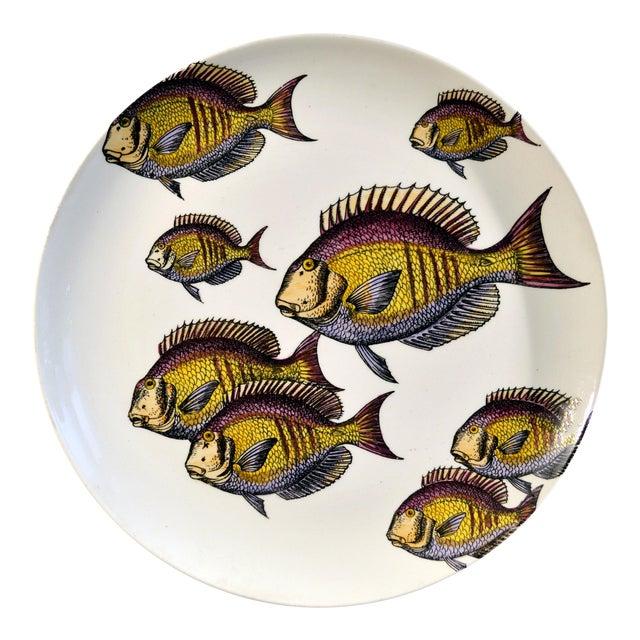 Rare Piero Fornasetti Pottery Fish Plate, Passata de pesce (Passage of Fish) or Pesci. For Sale