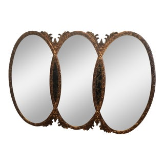 Gilt Triple Oval Interlocking Mid-Century Mirror For Sale
