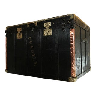 Victorian Wood & Metal Black Trunk For Sale