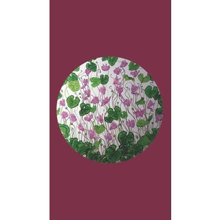 Tondi Fiori Collection Cyclamen Silver Circular Shaped Wallcovering On Burgundy For Sale