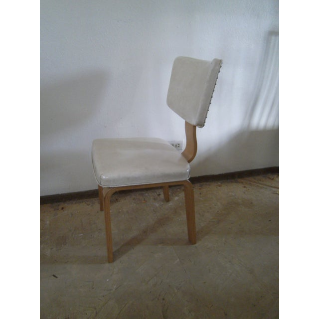 Vintage Ivory Vinyl and Birch Bentwood Chair - Image 4 of 11