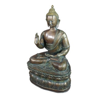 Chinese Antique 19th Century Large Brass Buddha For Sale