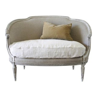 19th Century Carved and Painted Louis XVI Style Settee For Sale
