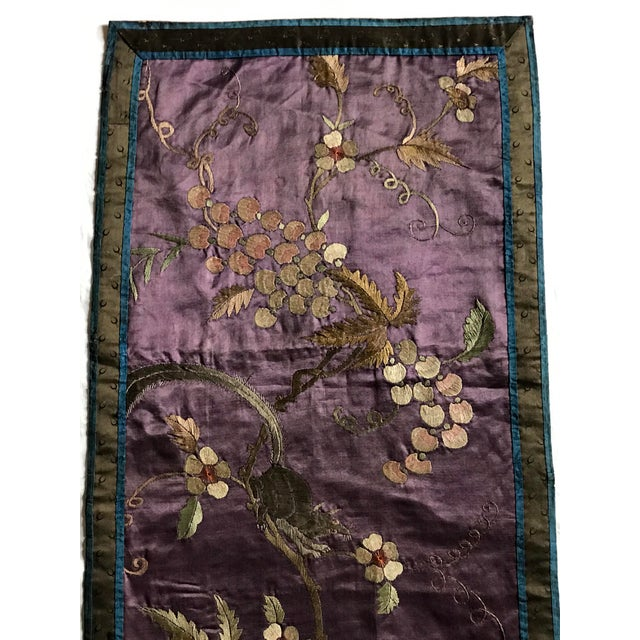 Late 19th Century Chinese Embroidered Silk Textile-Runner For Sale - Image 5 of 12