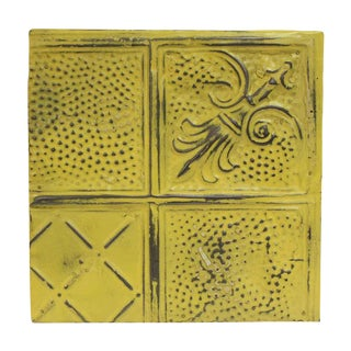 Antique Diagonal Yellow Tin Panel For Sale