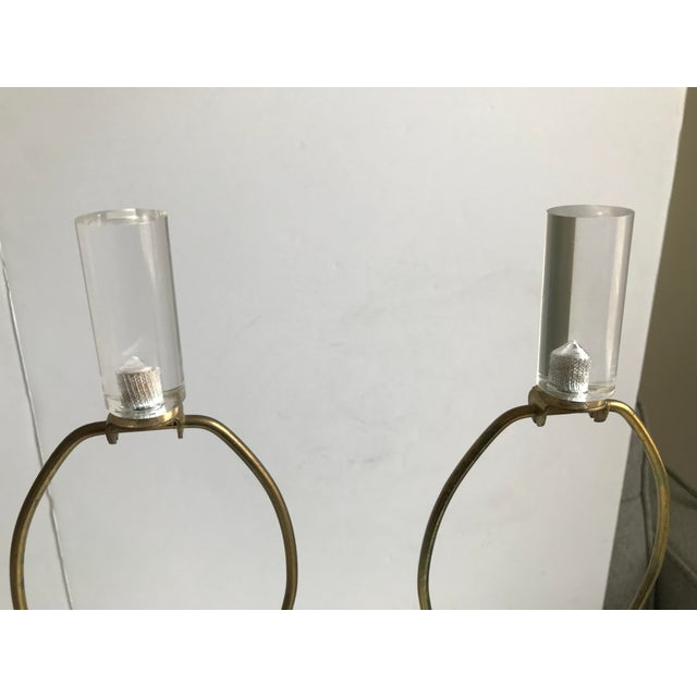 Vintage Lucite and Brass Stacked Table Lamps - A Pair For Sale - Image 4 of 7