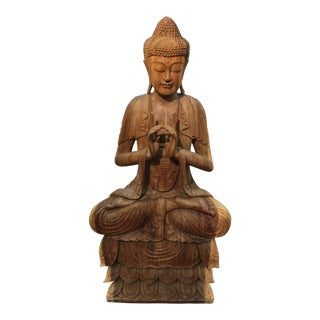 "Large Carved Buddha Figure 60"" For Sale"
