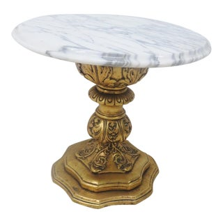 Gold Gilt Marble Top Side Table For Sale