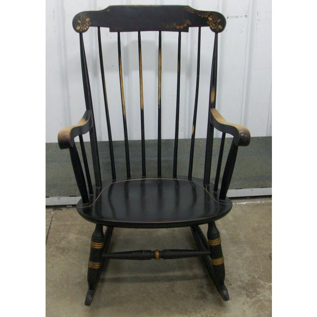 This is an Attractive Vintage Rocking Chair. Made by Nichols & Stone Co. Made in the 70's this is a Hitchcock Style...