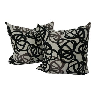 Custom Black & Grey Swirl Pillows on Cotton Linen Blend - a Pair For Sale
