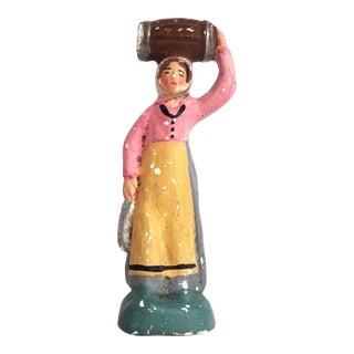 Antique French Santon the Fishmonger La Poissonniere Figurine For Sale