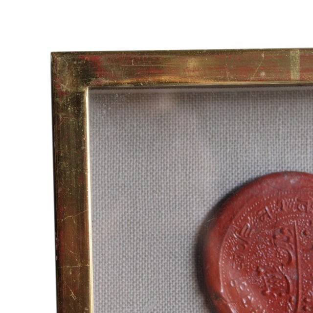 Red Framed Red Intaglio Wax Seals Collages - a Pair For Sale - Image 8 of 13