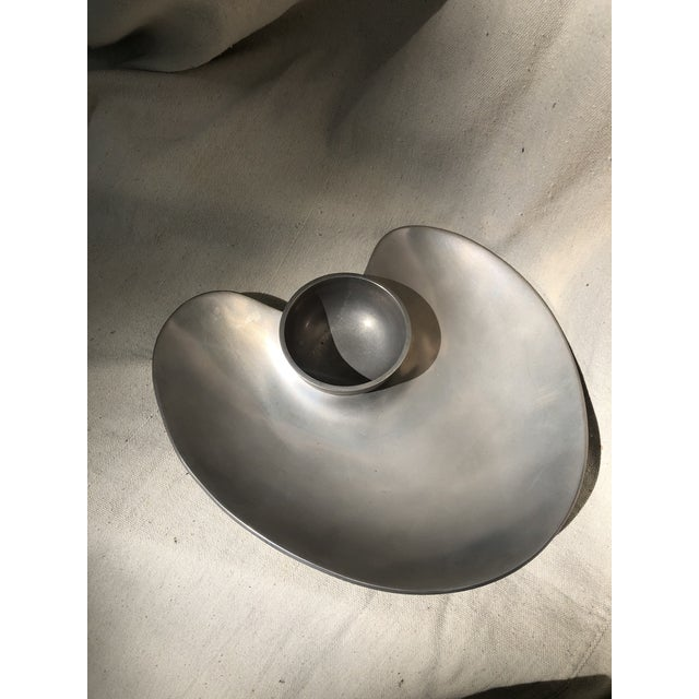 Silver Mid 20th Century Modernist Cast Aluminum Platter With Detachable Bowl For Sale - Image 8 of 8