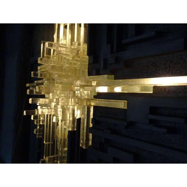 Aluminum Cast Aluminum and Glass Illuminated Wall Sculpture by Poliarte For Sale - Image 7 of 8