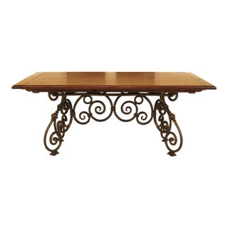 Country French Style Iron Base Wood Top Dining Table