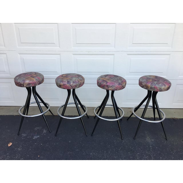 Black 1950s Mid Century Modern Patterened Swivel Bar Stools - Set of 4 For Sale - Image 8 of 8