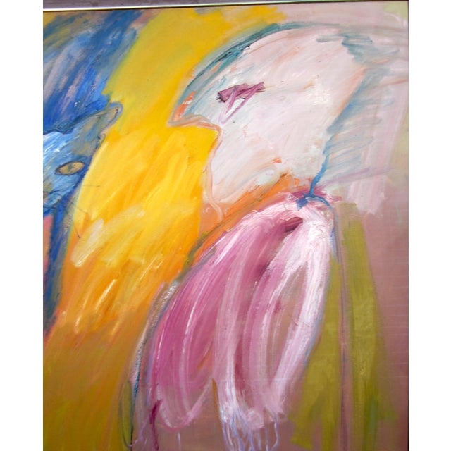 """Abstract Expressionism 1970s Expressionist Portrait """"Goodbye Saki"""" Outsider Art Oil Painting on Canvas Bird and Cat Portrait by Suzanne Peters For Sale - Image 3 of 12"""