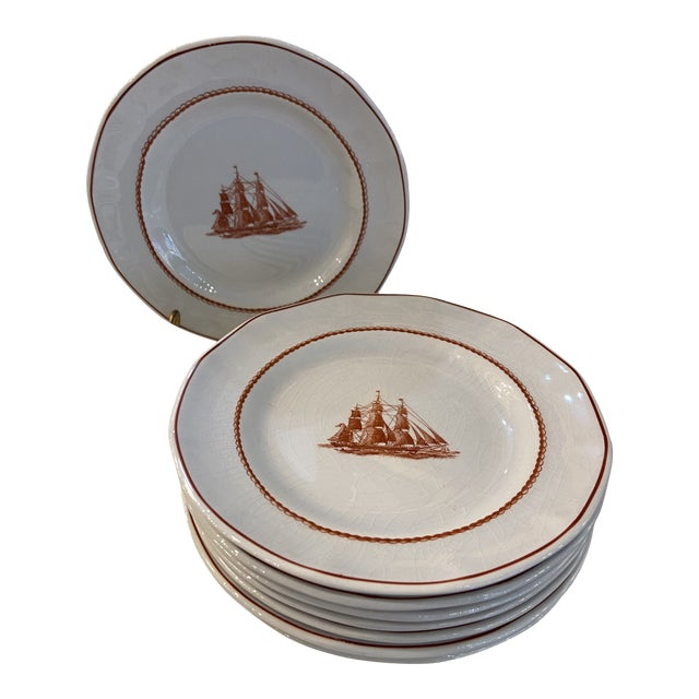 1980s Wedgwood Flying Cloud Rust Dessert Plates- Set of 8 For Sale