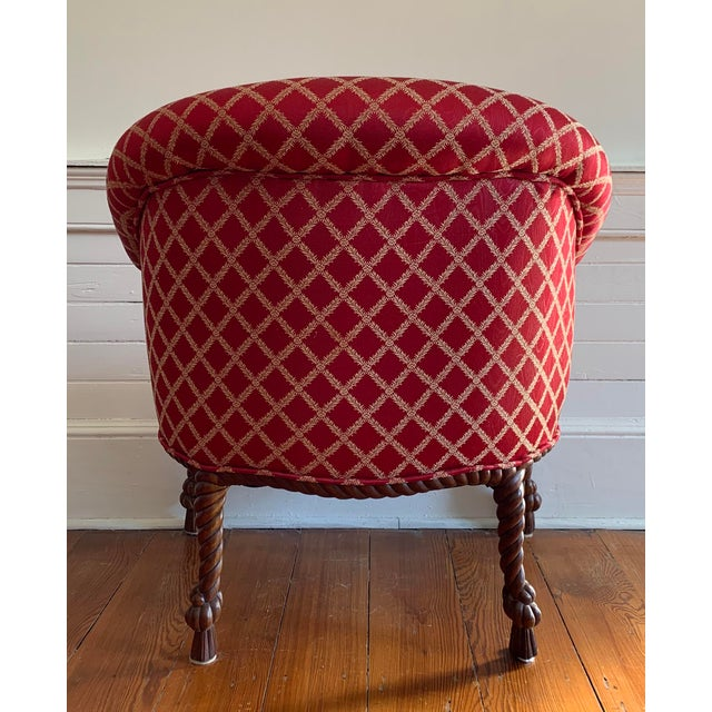 1960s Vintage Mid Century Napoleon III Style Rope and Tassel Tub Chairs - A Pair For Sale - Image 5 of 6