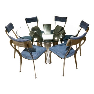 Memphis Johnston Casuals Brushed Metal Dining Set - 7 Pieces For Sale