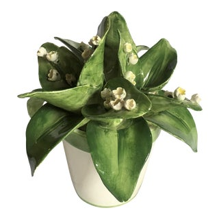 Late 20th Century Majolica Lily of the Valley Flower Bouquet For Sale