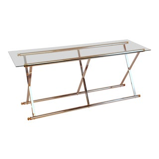 1980s Mid-Century Modern Chrome Console Table With Glass Top For Sale
