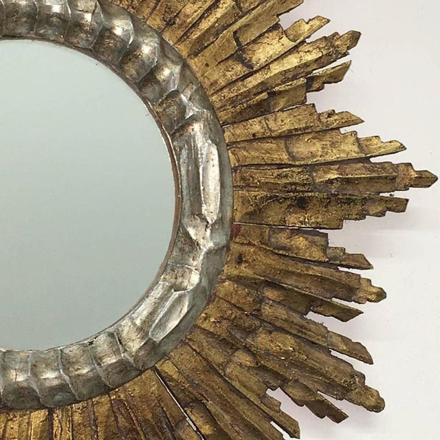 Vintage Mid-Century French Giltwood Sunburst Mirror For Sale In New York - Image 6 of 7