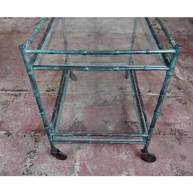 1930s Vintage Faux Bamboo Patinated Bronze Serving Bar Cart For Sale - Image 9 of 11