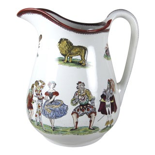 19th Century Elmsore & Foster Harlequin Ironstone Transferware Large Pitcher For Sale