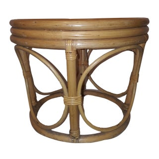 1960's Boho Chic Round Shaped Bamboo Reeded Rattan Ottoman/Side Table For Sale