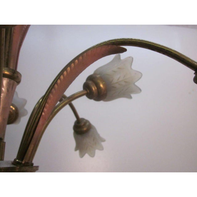 Italian Bronze and Glass Chandelier or Light Fixture For Sale In New York - Image 6 of 7