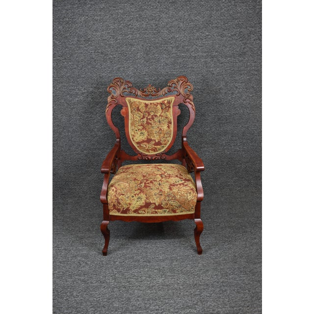 Antique Old World Carved Shield Back Armchair For Sale - Image 12 of 12