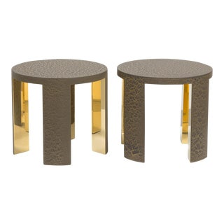 The Circular Crackle Side Tables by Talisman Bespoke (Bronze and Gold) For Sale