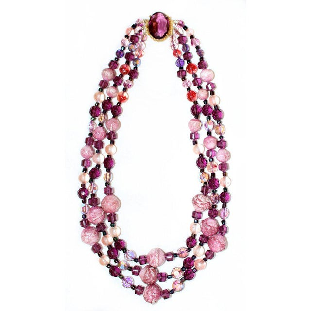 1950/60s Vintage Multi Strand Pink and Purple Necklace With Jeweled Clasp For Sale In Los Angeles - Image 6 of 6