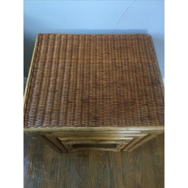 Vintage Rattan Nesting Tables - Set of 3 For Sale - Image 4 of 6
