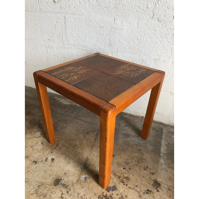 Vintage Mid-Century Danish Modern side table with insert tile top By Gangso Mobler. This unique table features clean...