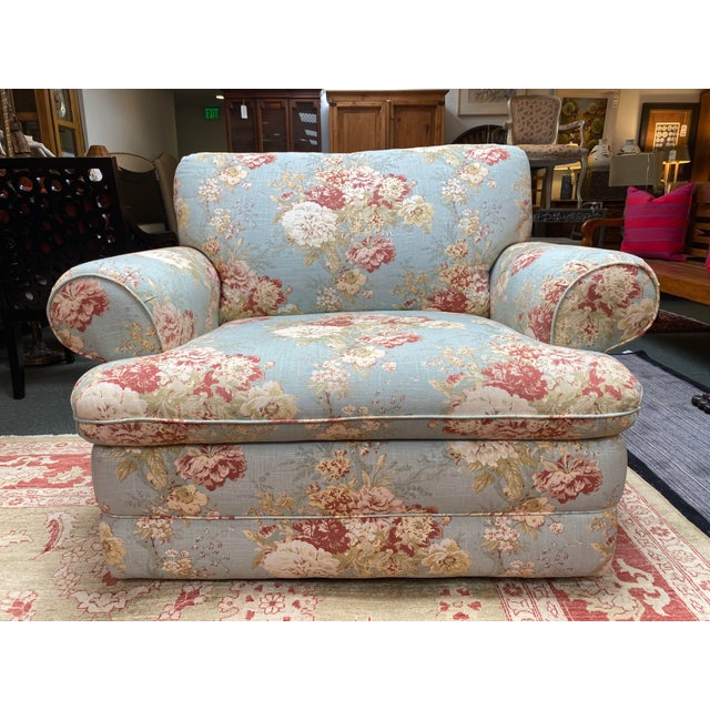 Design Plus Gallery presents a Shabby Chic Recliner Arm Chair Recliner. Charming linen fabric has floral patterns in a sky...