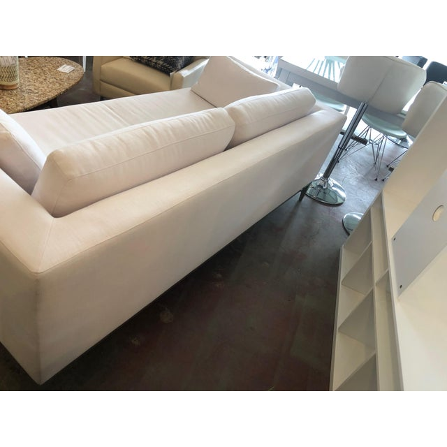 Restoration Hardware Restoration Hardware Italia Taper Arm White Sofa With Chrome Finish Legs For Sale - Image 4 of 6