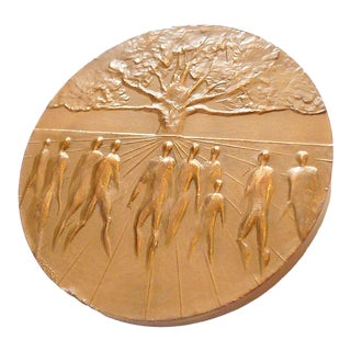 Modernist French Bronze Medal For Sale