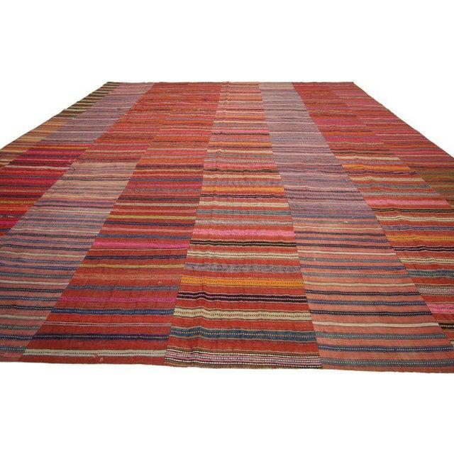 60640 Distressed Vintage Turkish Kilim Rug with Bayadere Stripes and Rustic Style, Striped Kilim Area Rug 09'07 x 12'11....